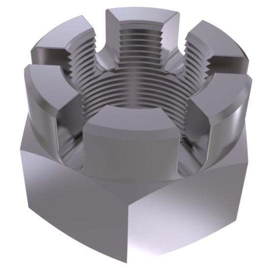 Гайка шестигранная прорезная и корончатая с мелким шагом резьбы DIN 935