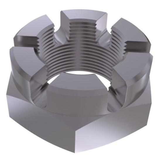 Гайка шестигранная прорезная и корончатая низкая с мелким шагом резьбы DIN 937